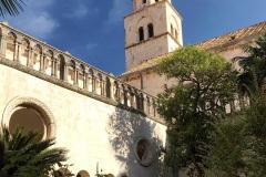 Dubrovnik-Croazia-chiostro-monastero-di-San-Francesco-vegetazione-campanile